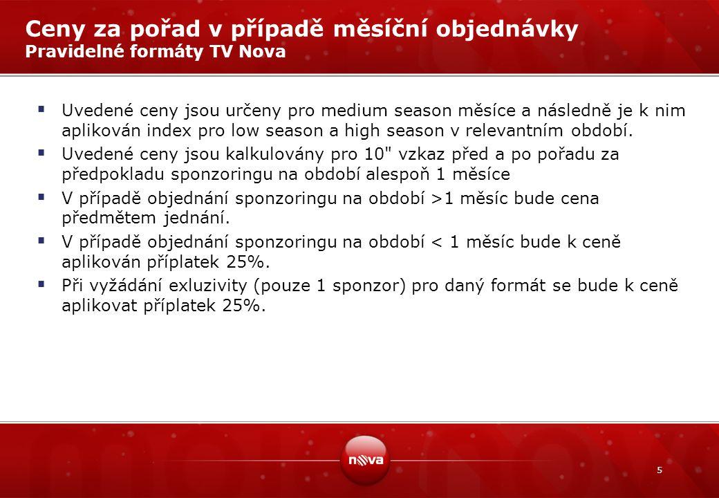 5 Ceny za pořad v případě měsíční objednávky Pravidelné formáty TV Nova  Uvedené ceny jsou určeny pro medium season měsíce a následně je k nim aplikován index pro low season a high season v relevantním období.