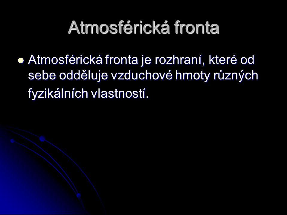 Atmosférická fronta Atmosférická fronta je rozhraní, které od sebe odděluje vzduchové hmoty různých Atmosférická fronta je rozhraní, které od sebe odd