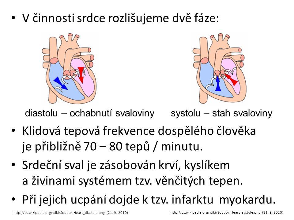 V činnosti srdce rozlišujeme dvě fáze: Klidová tepová frekvence dospělého člověka je přibližně 70 – 80 tepů / minutu. Srdeční sval je zásobován krví,