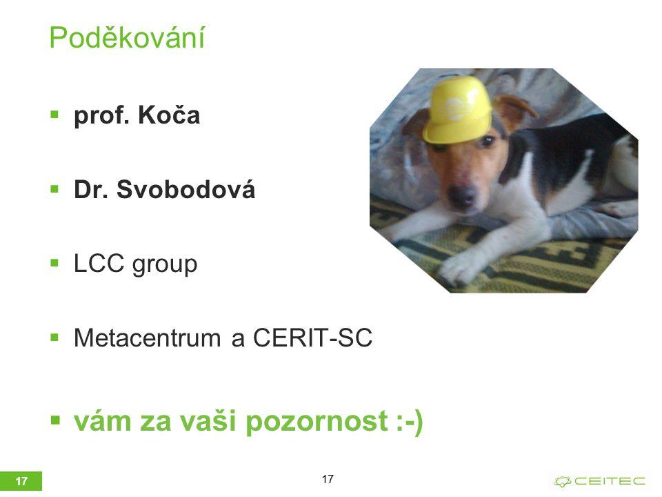 Poděkování  prof. Koča  Dr. Svobodová  LCC group  Metacentrum a CERIT-SC  vám za vaši pozornost :-) 17