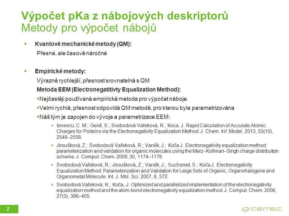 Výpočet pKa z nábojových deskriptorů Metody pro výpočet nábojů  Kvantově mechanické metody (QM): Přesné, ale časově náročné  Empirické metody: Výraz