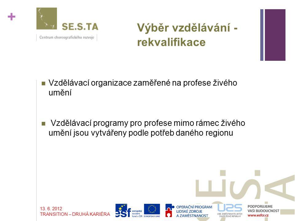 + Výběr vzdělávání - rekvalifikace Vzdělávací organizace zaměřené na profese živého umění Vzdělávací programy pro profese mimo rámec živého umění jsou vytvářeny podle potřeb daného regionu 13.