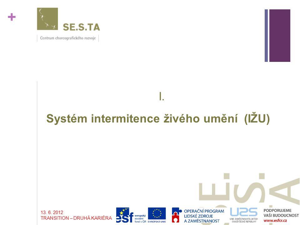 + I. Systém intermitence živého umění (IŽU) 13. 6. 2012 TRANSITION – DRUHÁ KARIÉRA