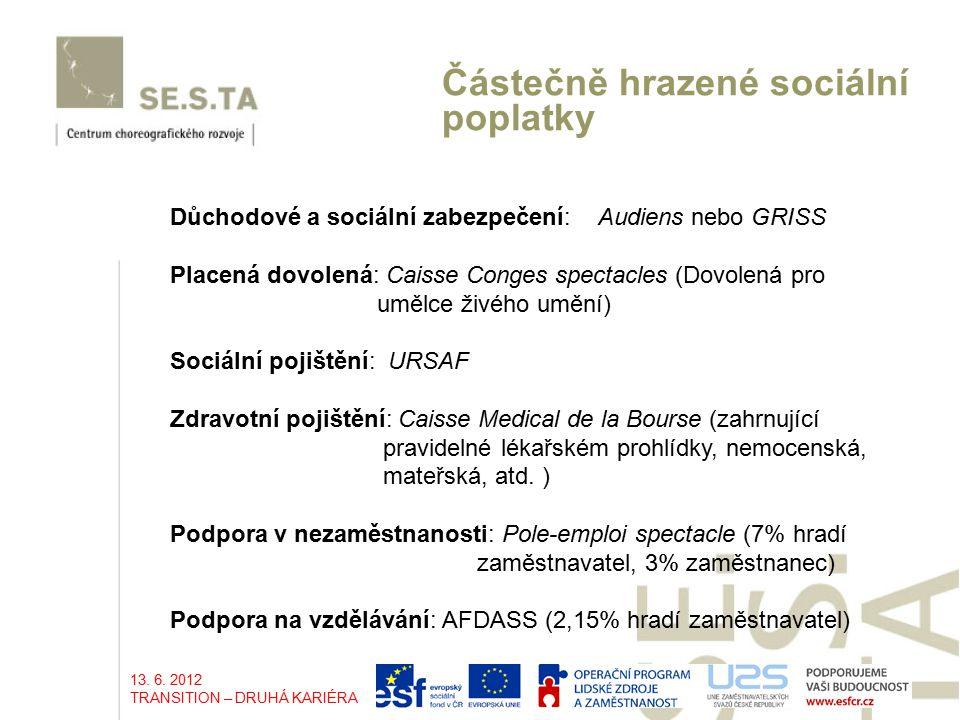 Částečně hrazené sociální poplatky Důchodové a sociální zabezpečení: Audiens nebo GRISS Placená dovolená: Caisse Conges spectacles (Dovolená pro umělce živého umění) Sociální pojištění: URSAF Zdravotní pojištění: Caisse Medical de la Bourse (zahrnující pravidelné lékařském prohlídky, nemocenská, mateřská, atd.