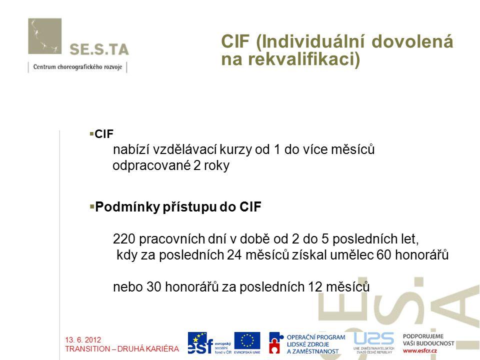 CIF (Individuální dovolená na rekvalifikaci)  CIF nabízí vzdělávací kurzy od 1 do více měsíců odpracované 2 roky 220 pracovních dní v době od 2 do 5 posledních let, kdy za posledních 24 měsíců získal umělec 60 honorářů nebo 30 honorářů za posledních 12 měsíců  Podmínky přístupu do CIF 13.