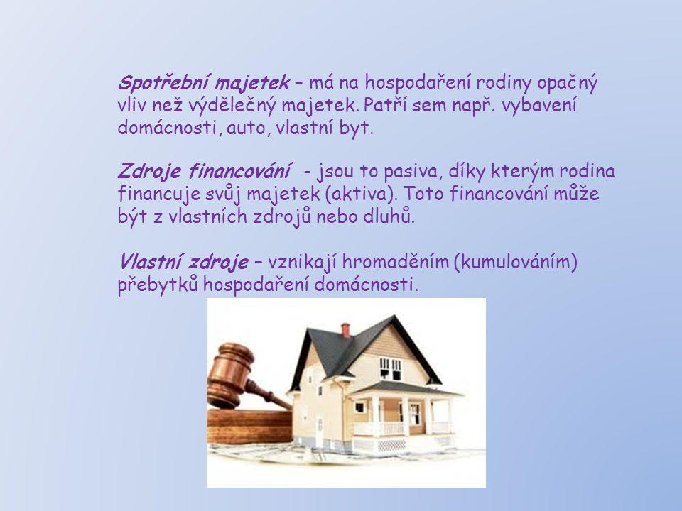 Spotřební majetek – má na hospodaření rodiny opačný vliv než výdělečný majetek.