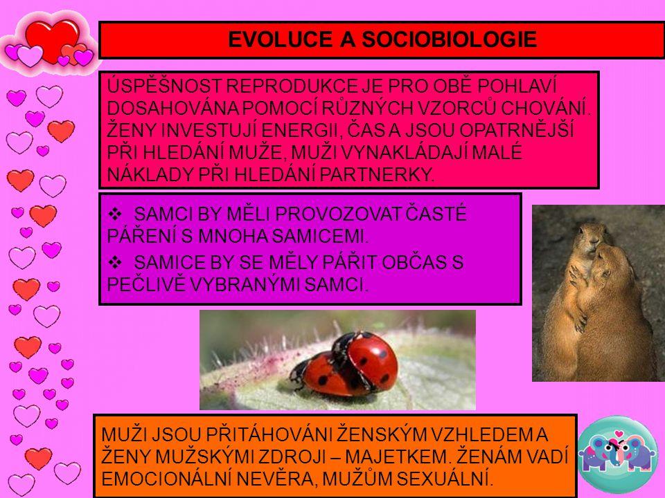 EVOLUCE A SOCIOBIOLOGIE ÚSPĚŠNOST REPRODUKCE JE PRO OBĚ POHLAVÍ DOSAHOVÁNA POMOCÍ RŮZNÝCH VZORCŮ CHOVÁNÍ. ŽENY INVESTUJÍ ENERGII, ČAS A JSOU OPATRNĚJŠ