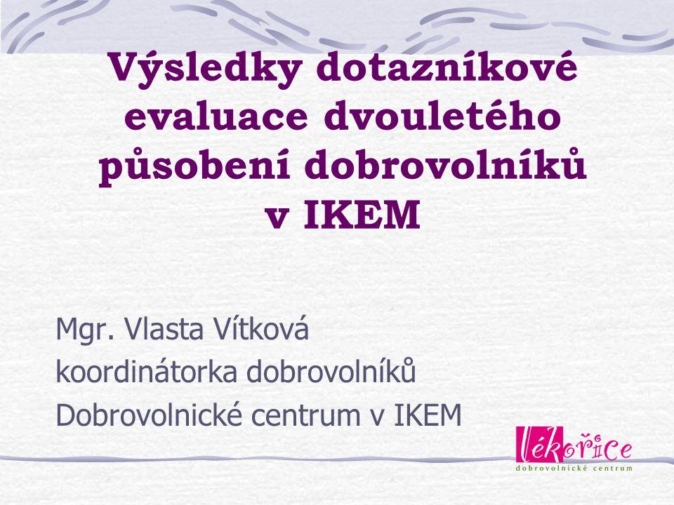Výsledky dotazníkové evaluace dvouletého působení dobrovolníků v IKEM Mgr. Vlasta Vítková koordinátorka dobrovolníků Dobrovolnické centrum v IKEM