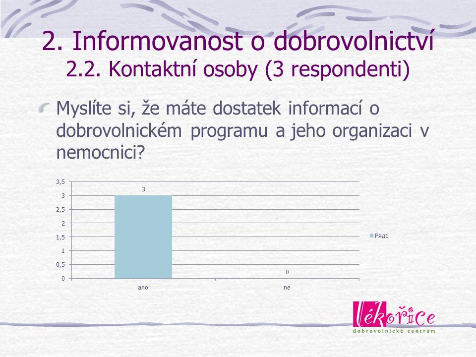 2. Informovanost o dobrovolnictví 2.2. Kontaktní osoby (3 respondenti) Myslíte si, že máte dostatek informací o dobrovolnickém programu a jeho organiz