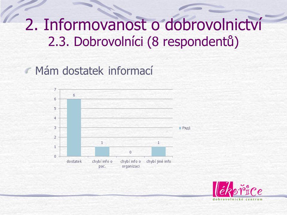 2. Informovanost o dobrovolnictví 2.3. Dobrovolníci (8 respondentů) Mám dostatek informací