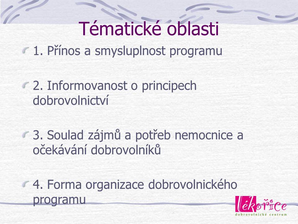 Tématické oblasti 1. Přínos a smysluplnost programu 2. Informovanost o principech dobrovolnictví 3. Soulad zájmů a potřeb nemocnice a očekávání dobrov