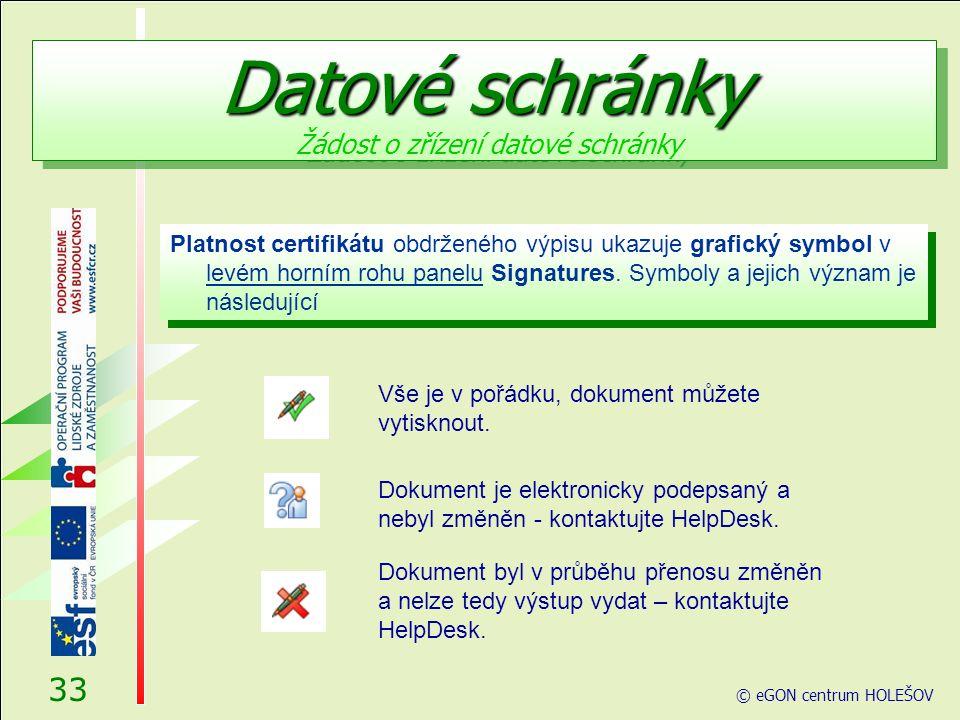 Platnost certifikátu obdrženého výpisu ukazuje grafický symbol v levém horním rohu panelu Signatures.