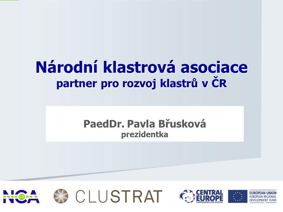 PaedDr. Pavla Břusková prezidentka 1 Národní klastrová asociace partner pro rozvoj klastrů v ČR