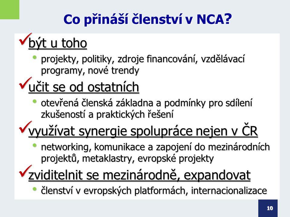 Co přináší členství v NCA ? být u toho být u toho projekty, politiky, zdroje financování, vzdělávací programy, nové trendy projekty, politiky, zdroje