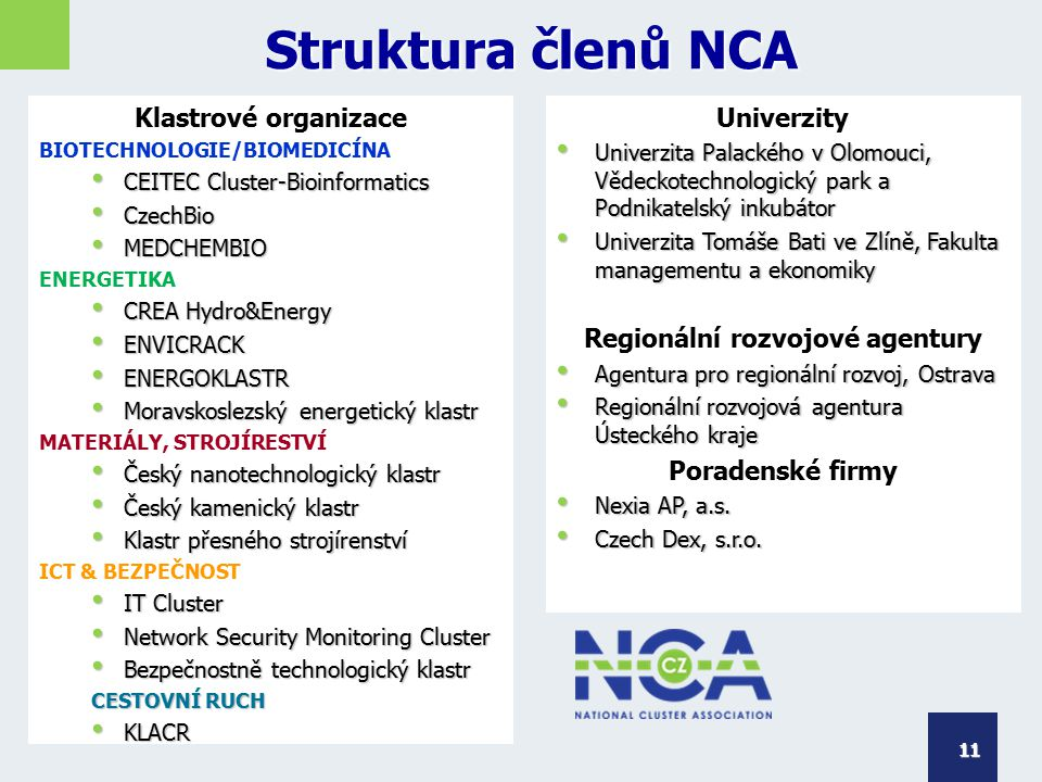 Struktura členů NCA Klastrové organizace BIOTECHNOLOGIE/BIOMEDICÍNA CEITEC Cluster-Bioinformatics CEITEC Cluster-Bioinformatics CzechBio CzechBio MEDC