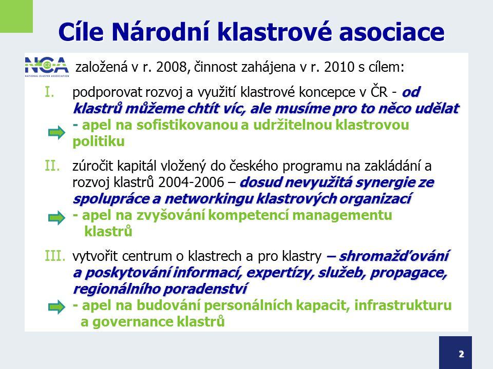 Cíle Národní klastrové asociace založená v r. 2008, činnost zahájena v r. 2010 s cílem: I. od klastrů můžeme chtít víc, ale musíme pro to něco udělat