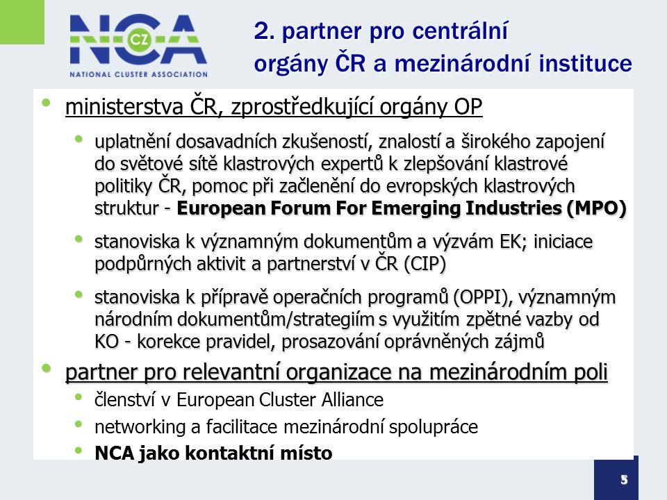 2. partner pro centrální orgány ČR a mezinárodní instituce ministerstva ČR, zprostředkující orgány OP uplatnění dosavadních zkušeností, znalostí a šir
