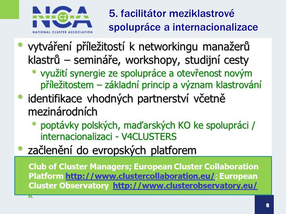 5. facilitátor meziklastrové spolupráce a internacionalizace vytváření příležitostí k networkingu manažerů klastrů – semináře, workshopy, studijní ces