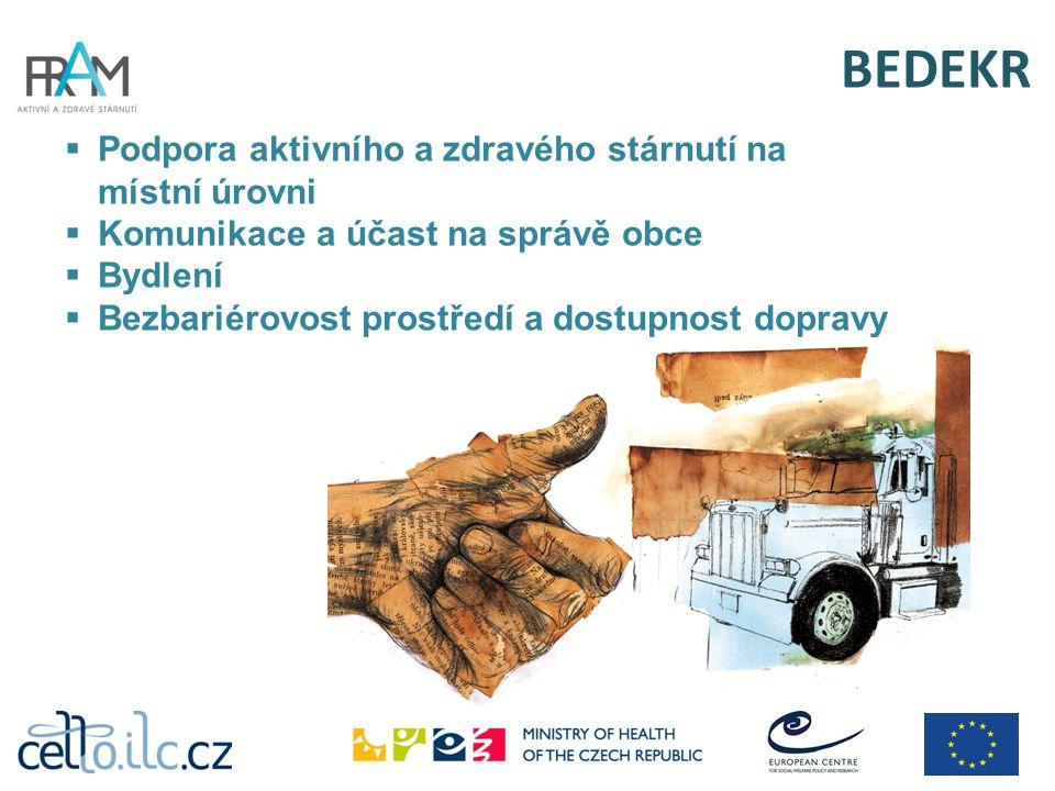 BEDEKR  Podpora aktivního a zdravého stárnutí na místní úrovni  Komunikace a účast na správě obce  Bydlení  Bezbariérovost prostředí a dostupnost
