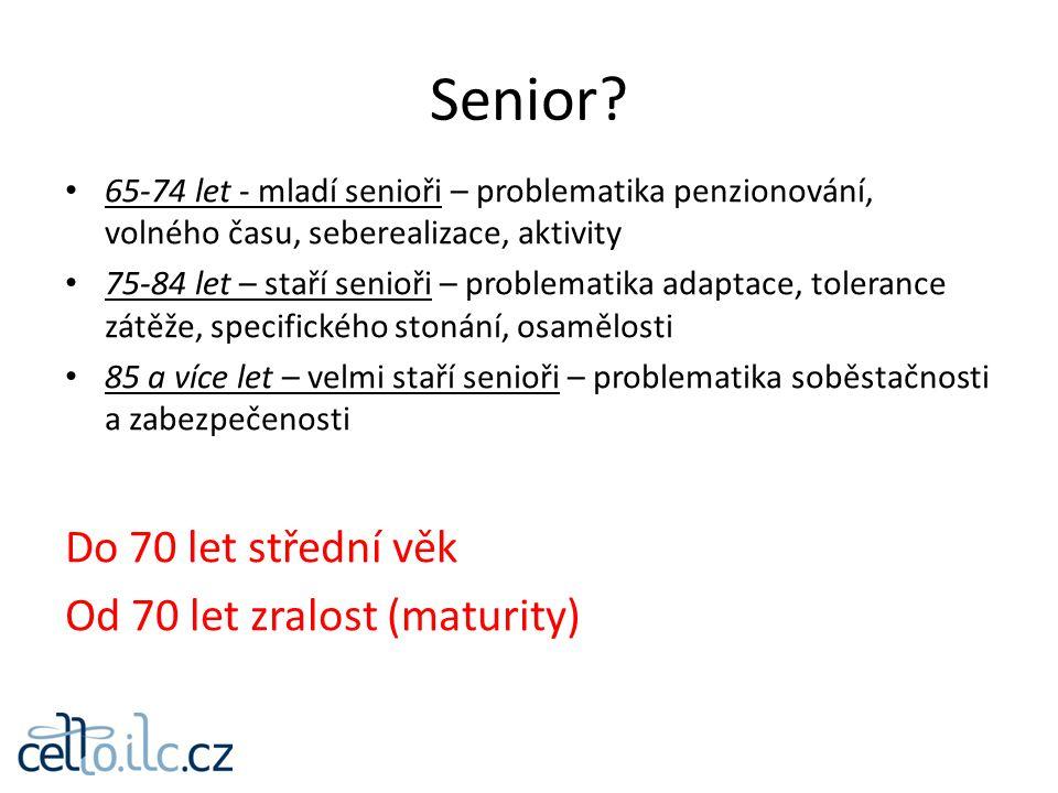 65-74 let - mladí senioři – problematika penzionování, volného času, seberealizace, aktivity 75-84 let – staří senioři – problematika adaptace, tolera
