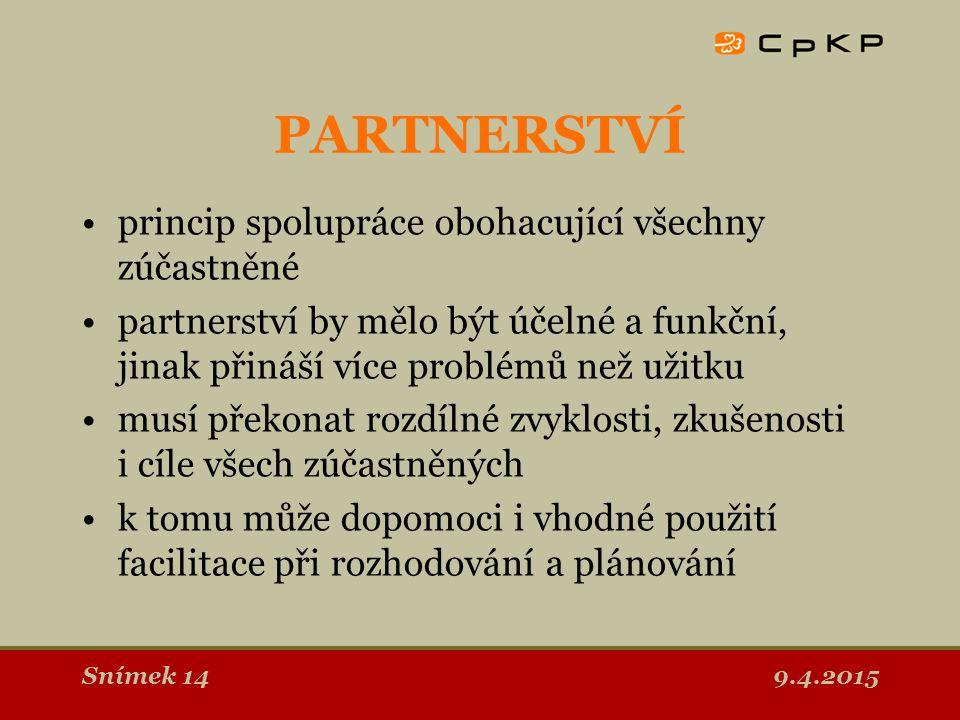 9.4.2015Snímek 15 Společná činnost Spolupráce Konzultace Informování Donucení, formální ÚROVNĚ PARTNERSTVÍ
