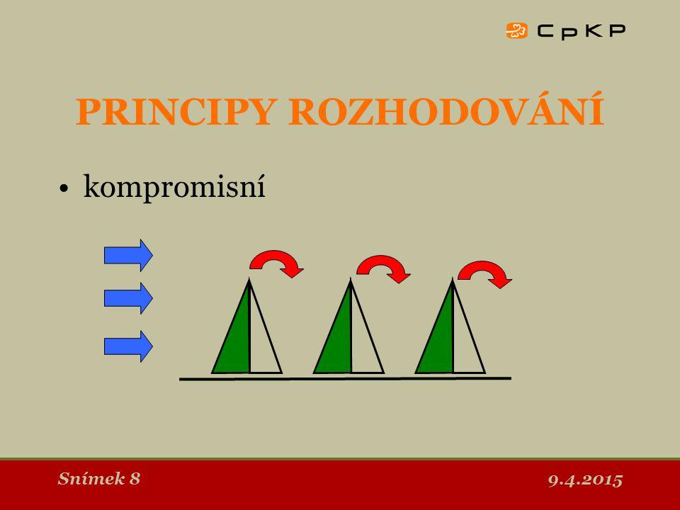 9.4.2015Snímek 9 PRINCIPY ROZHODOVÁNÍ konsensuální toto je cílem zapojování veřejnosti