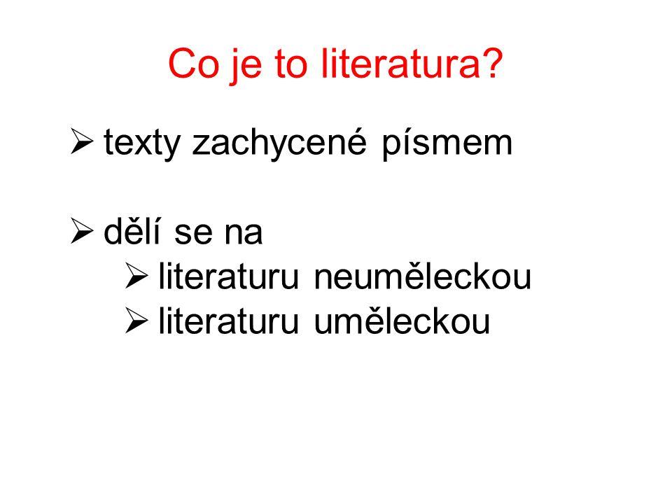  texty zachycené písmem  dělí se na  literaturu neuměleckou  literaturu uměleckou