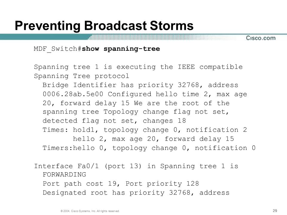 29 © 2004, Cisco Systems, Inc. All rights reserved. Preventing Broadcast Storms
