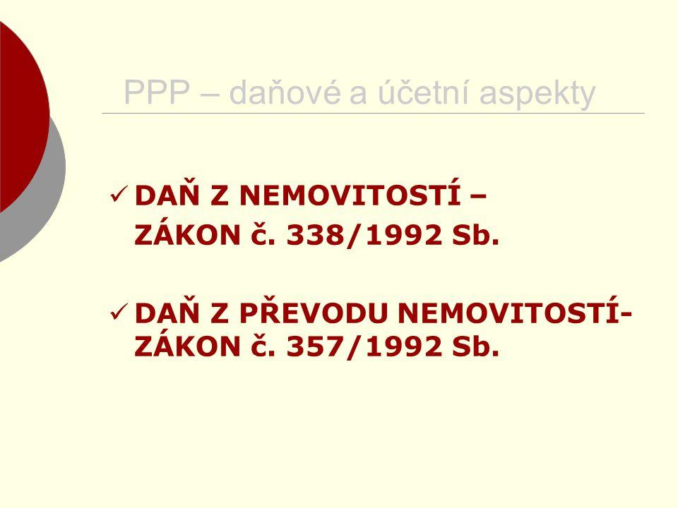 DAŇ Z NEMOVITOSTÍ – ZÁKON č. 338/1992 Sb. DAŇ Z PŘEVODU NEMOVITOSTÍ- ZÁKON č. 357/1992 Sb.