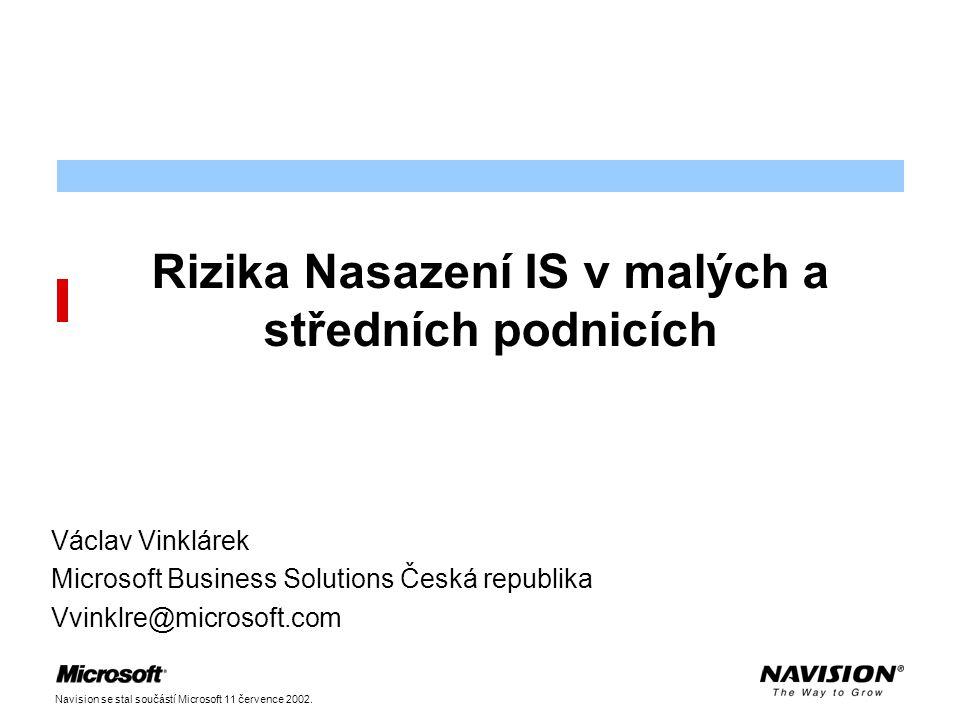 Navision se stal součástí Microsoft 11 července 2002. Rizika Nasazení IS v malých a středních podnicích Václav Vinklárek Microsoft Business Solutions