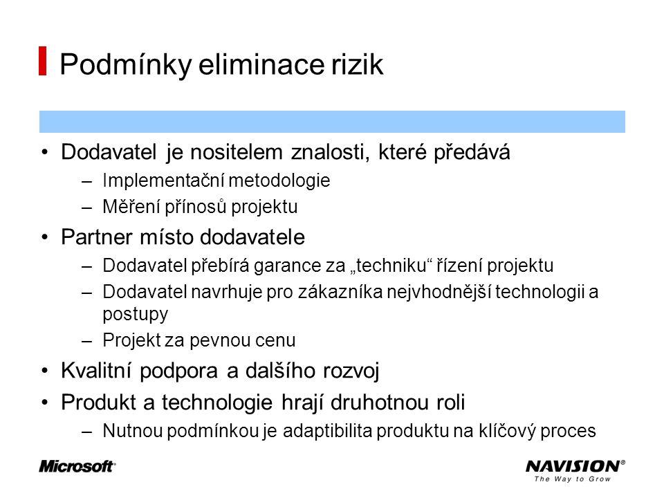 Podmínky eliminace rizik Dodavatel je nositelem znalosti, které předává –Implementační metodologie –Měření přínosů projektu Partner místo dodavatele –