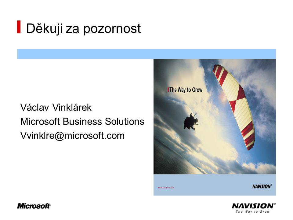 Děkuji za pozornost Václav Vinklárek Microsoft Business Solutions Vvinklre@microsoft.com