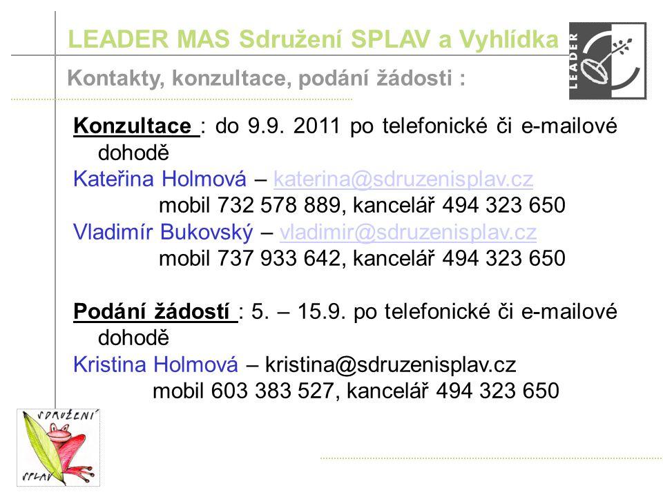 LEADER MAS Sdružení SPLAV a Vyhlídka Průběh 8.