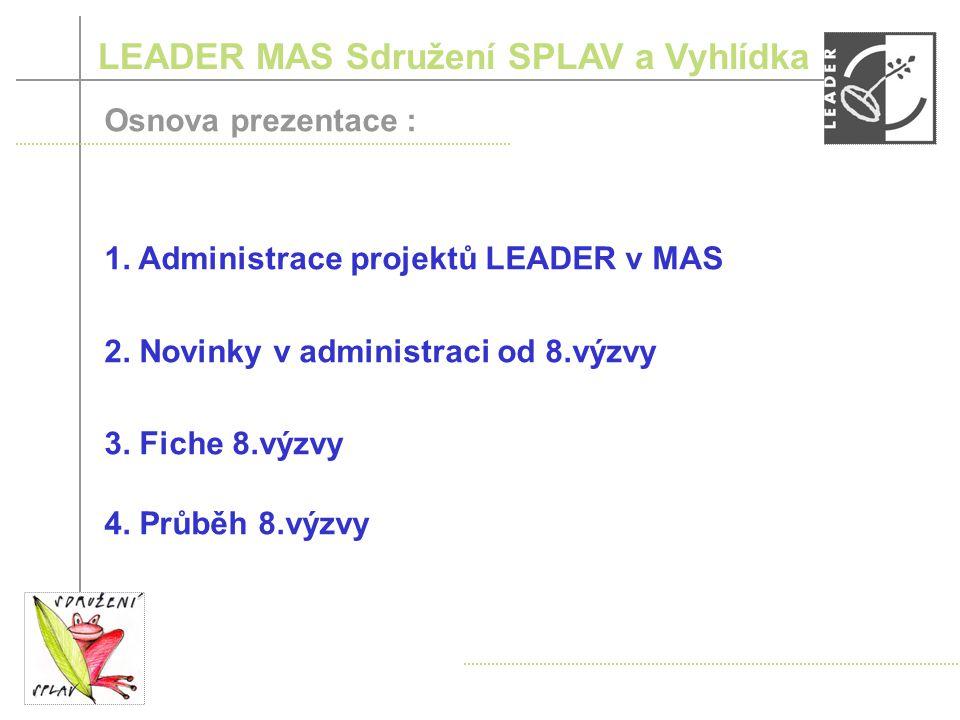 LEADER MAS Sdružení SPLAV a Vyhlídka Osnova prezentace : 1.