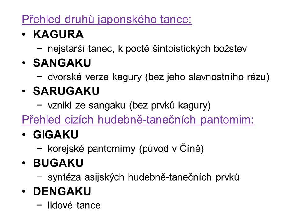 Přehled druhů japonského tance: KAGURA −nejstarší tanec, k poctě šintoistických božstev SANGAKU −dvorská verze kagury (bez jeho slavnostního rázu) SAR