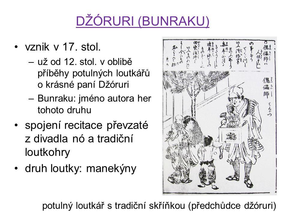 DŽÓRURI (BUNRAKU) vznik v 17. stol. –už od 12. stol. v oblibě příběhy potulných loutkářů o krásné paní Džóruri –Bunraku: jméno autora her tohoto druhu