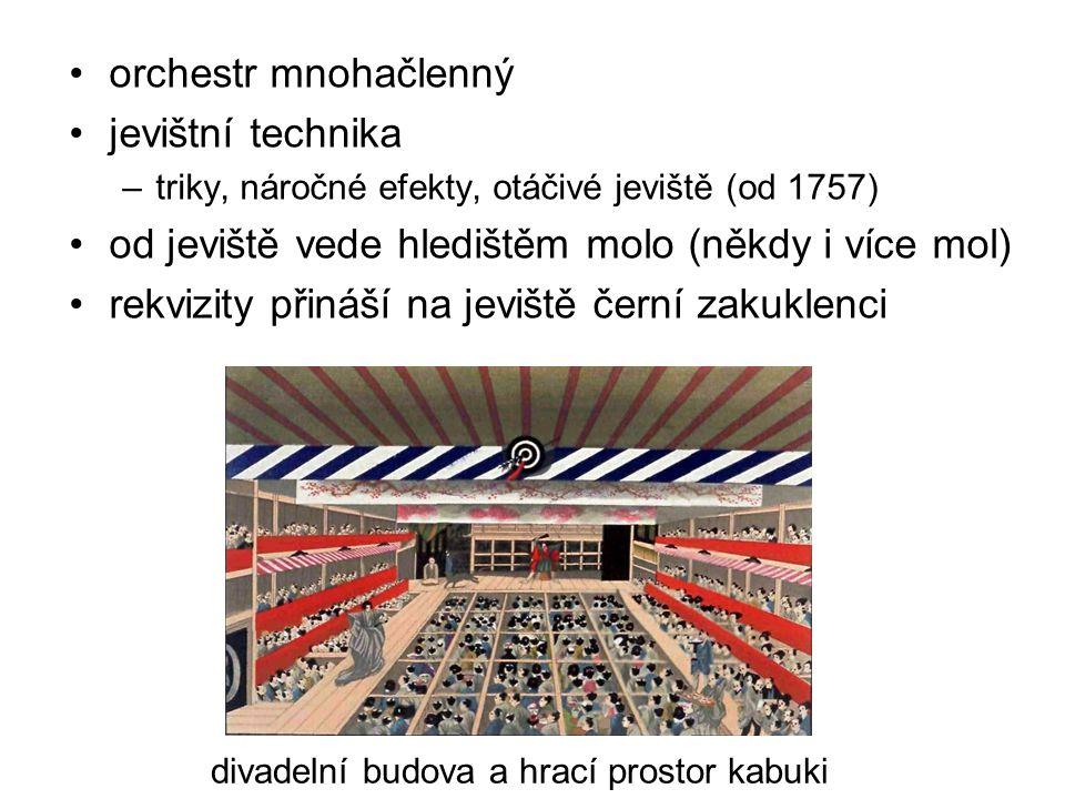 orchestr mnohačlenný jevištní technika –triky, náročné efekty, otáčivé jeviště (od 1757) od jeviště vede hledištěm molo (někdy i více mol) rekvizity p