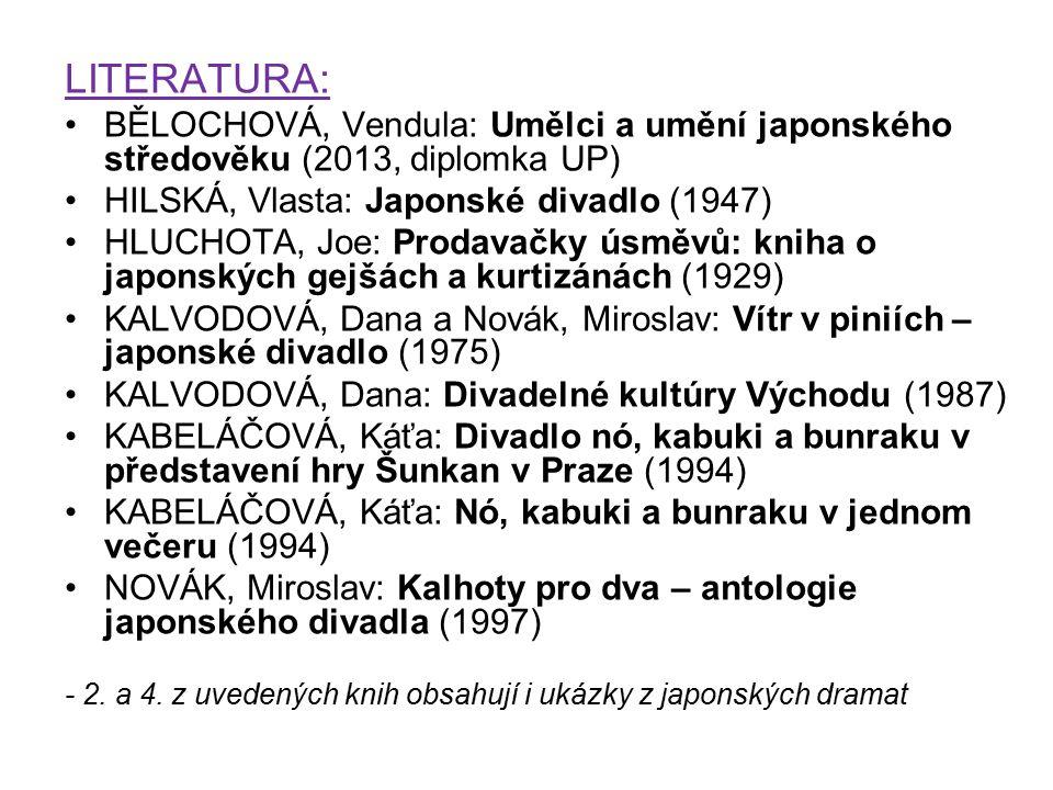 LITERATURA: BĚLOCHOVÁ, Vendula: Umělci a umění japonského středověku (2013, diplomka UP) HILSKÁ, Vlasta: Japonské divadlo (1947) HLUCHOTA, Joe: Prodav
