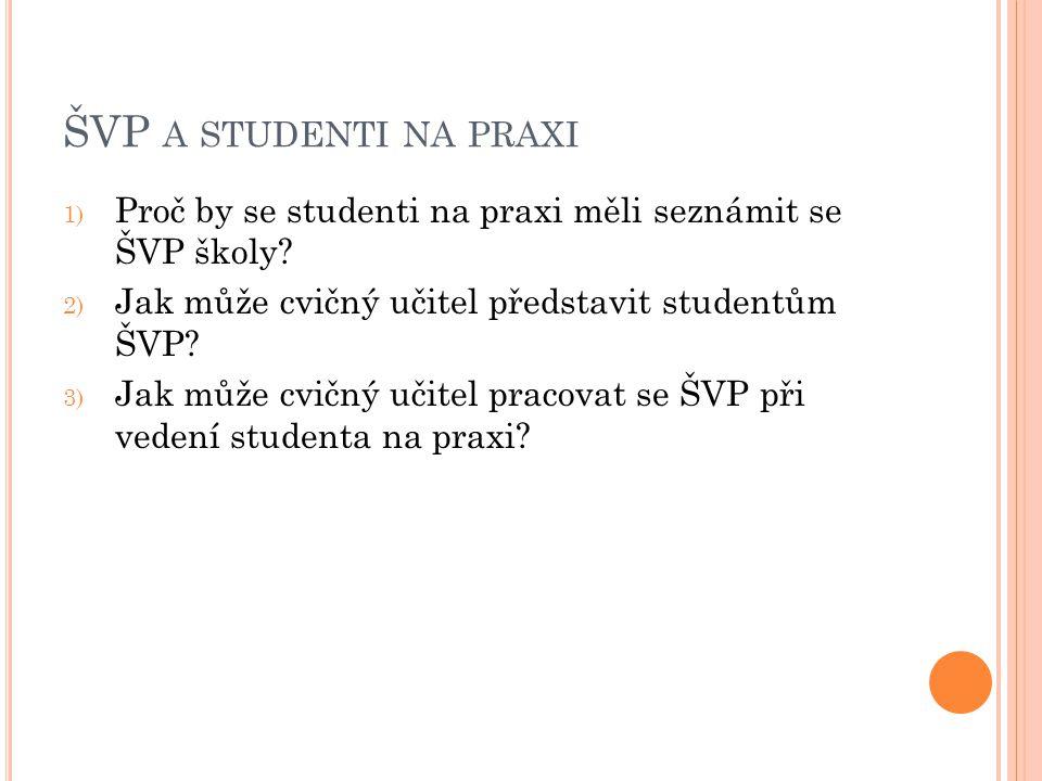 ŠVP A STUDENTI NA PRAXI 1) Proč by se studenti na praxi měli seznámit se ŠVP školy.