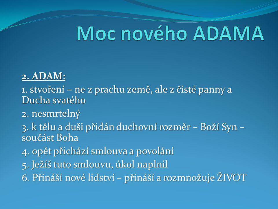 2. ADAM: 1. stvoření – ne z prachu země, ale z čisté panny a Ducha svatého 2.