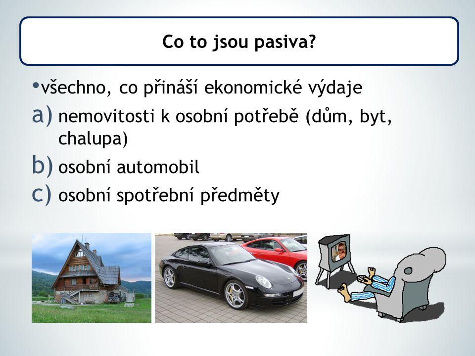 všechno, co přináší ekonomické výdaje a) nemovitosti k osobní potřebě (dům, byt, chalupa) b) osobní automobil c) osobní spotřební předměty Co to jsou pasiva?