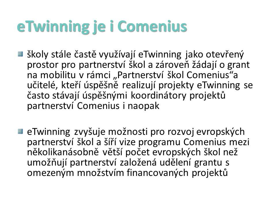 """eTwinning je i Comenius školy stále častě využívají eTwinning jako otevřený prostor pro partnerství škol a zároveň žádají o grant na mobilitu v rámci """"Partnerství škol Comenius a učitelé, kteří úspěšně realizují projekty eTwinning se často stávají úspěšnými koordinátory projektů partnerství Comenius i naopak eTwinning zvyšuje možnosti pro rozvoj evropských partnerství škol a šíří vize programu Comenius mezi několikanásobně větší počet evropských škol než umožňují partnerství založená udělení grantu s omezeným množstvím financovaných projektů"""
