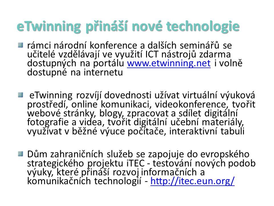 eTwinning přináší nové technologie rámci národní konference a dalších seminářů se učitelé vzdělávají ve využití ICT nástrojů zdarma dostupných na portálu www.etwinning.net i volně dostupné na internetuwww.etwinning.net eTwinning rozvíjí dovednosti užívat virtuální výuková prostředí, online komunikaci, videokonference, tvořit webové stránky, blogy, zpracovat a sdílet digitální fotografie a videa, tvořit digitální učební materiály, využívat v běžné výuce počítače, interaktivní tabuli Dům zahraničních služeb se zapojuje do evropského strategického projektu iTEC - testování nových podob výuky, které přináší rozvoj informačních a komunikačních technologií - http://itec.eun.org/http://itec.eun.org/
