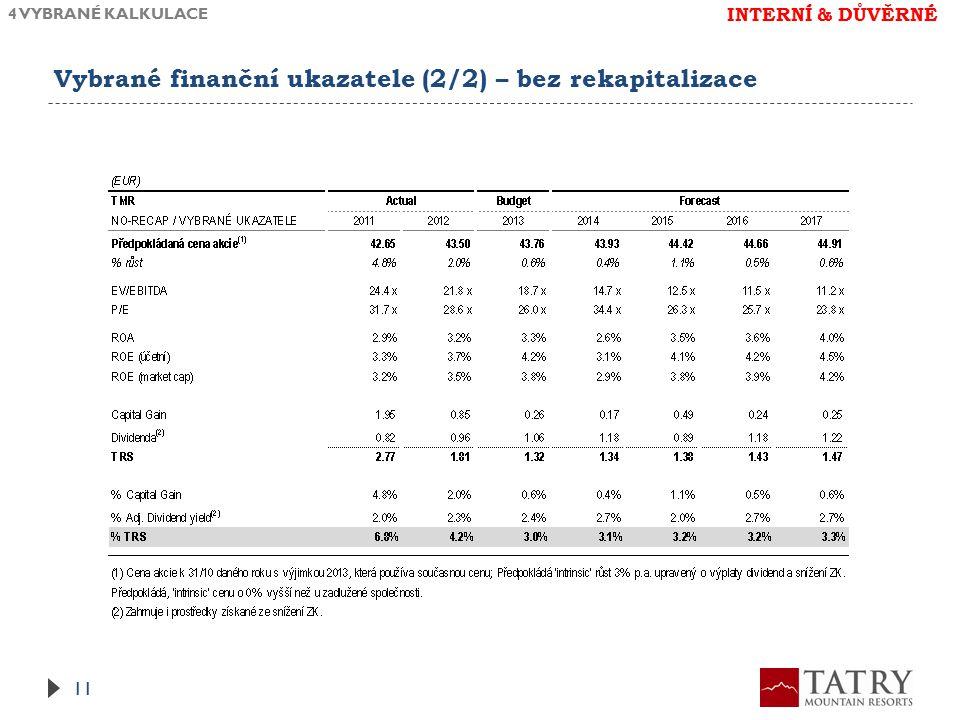 Vybrané finanční ukazatele (2/2) – bez rekapitalizace 4 VYBRANÉ KALKULACE 11 INTERNÍ & DŮVĚRNÉ
