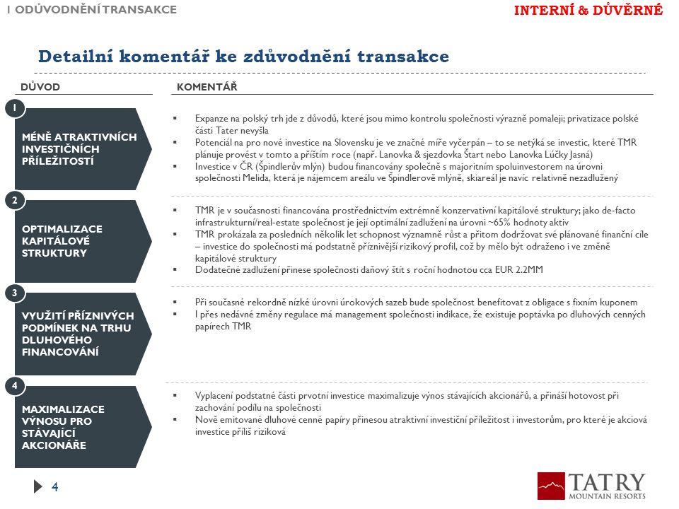 Detailní komentář ke zdůvodnění transakce KOMENTÁŘ 1 ODŮVODNĚNÍ TRANSAKCE 4 DŮVOD MÉNĚ ATRAKTIVNÍCH INVESTIČNÍCH PŘÍLEŽITOSTÍ  Expanze na polský trh jde z důvodů, které jsou mimo kontrolu společnosti výrazně pomaleji; privatizace polské části Tater nevyšla  Potenciál na pro nové investice na Slovensku je ve značné míře vyčerpán – to se netýká se investic, které TMR plánuje provést v tomto a příštím roce (např.