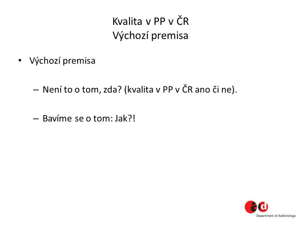 Kvalita v PP v ČR Výchozí premisa Výchozí premisa – Není to o tom, zda? (kvalita v PP v ČR ano či ne). – Bavíme se o tom: Jak?!