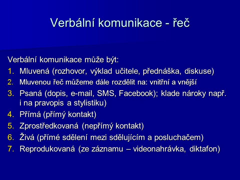 Verbální komunikace - řeč Verbální komunikace může být: 1.Mluvená (rozhovor, výklad učitele, přednáška, diskuse) 2.Mluvenou řeč můžeme dále rozdělit n