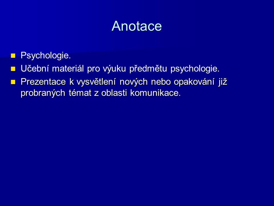 Anotace Psychologie.. Učební materiál pro výuku předmětu psychologie. Prezentace k vysvětlení nových nebo opakování již probraných témat z oblasti kom