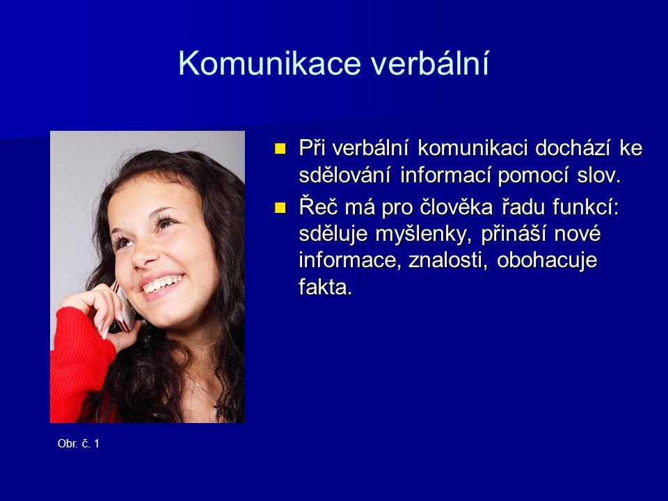Komunikace verbální Při verbální komunikaci dochází ke sdělování informací pomocí slov.