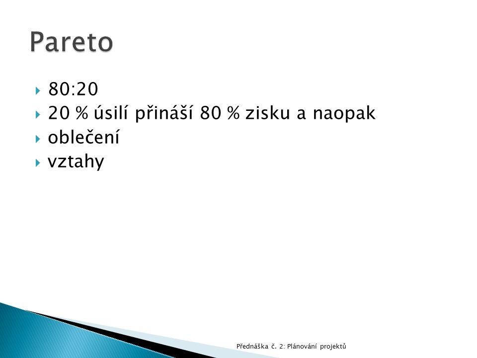  80:20  20 % úsilí přináší 80 % zisku a naopak  oblečení  vztahy Přednáška č. 2: Plánování projektů